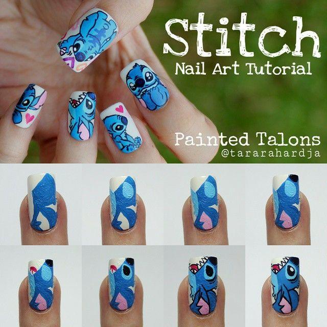 Stitch Nail Art Tutorial Part 2 Super Cute Disney Acrylic Nails Nail Art Disney Disney Nail Designs