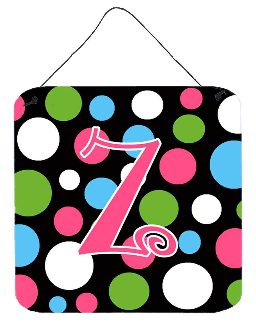 Letter z initial monogram polkadots and pink wall or door hanging