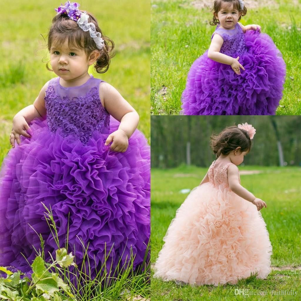 2017 New Purple Pink Toddler Girl\'S Pageant Dresses Sheer Crew Neck ...