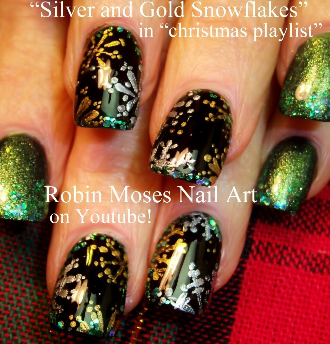 Silver and Gold Snowflake Nail Art by Robin Moses | My Style | Pinterest