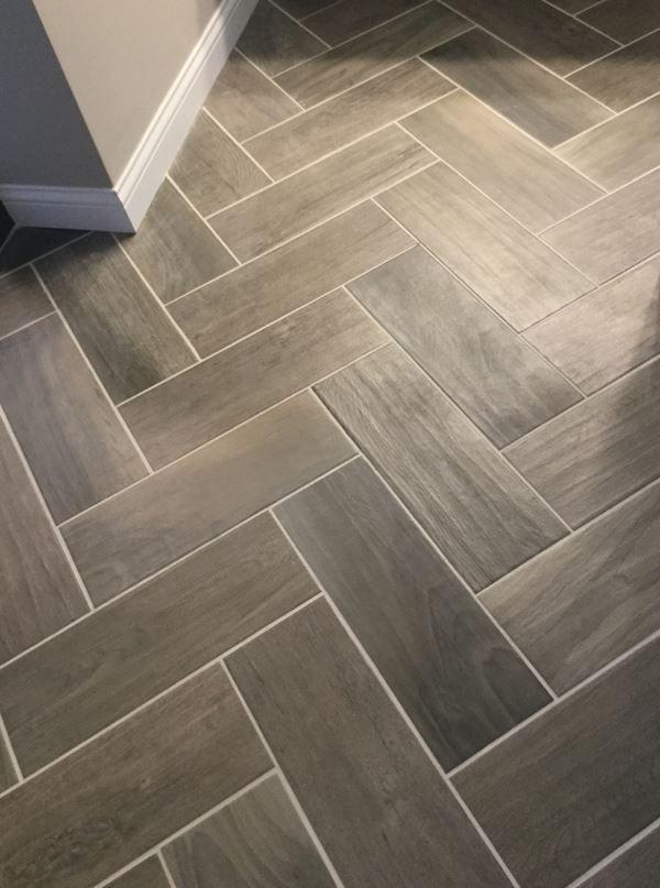 Emblem Gray 7x20 Tiles On Floor In Herringbone Pattern
