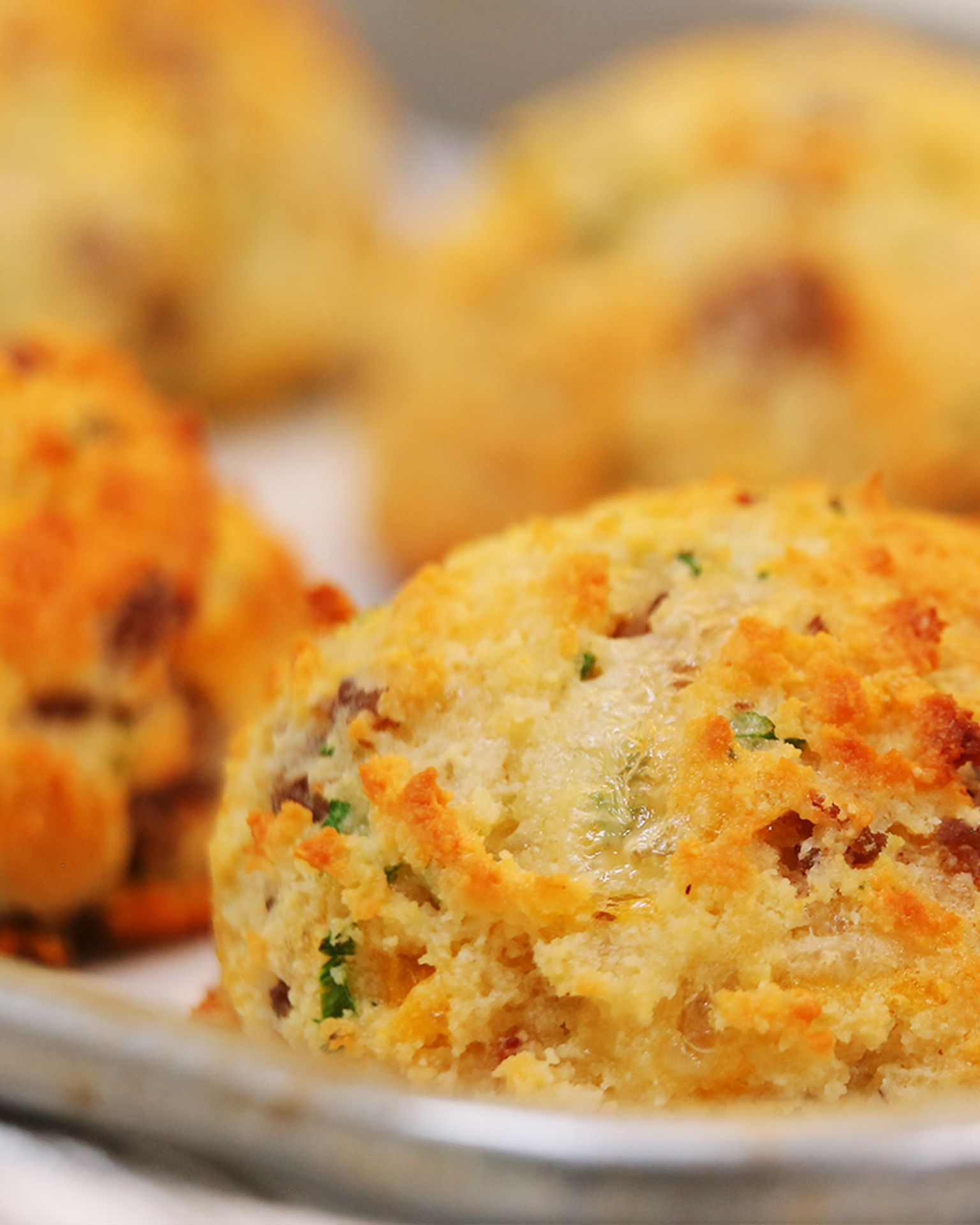 Low Carb Sausage Cheddar Chive Breakfast Biscuits Recipe