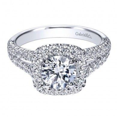14K White Gold 0.83 ct Diamond Criss Cross Engagement Ring Setting ER10252W44JJ