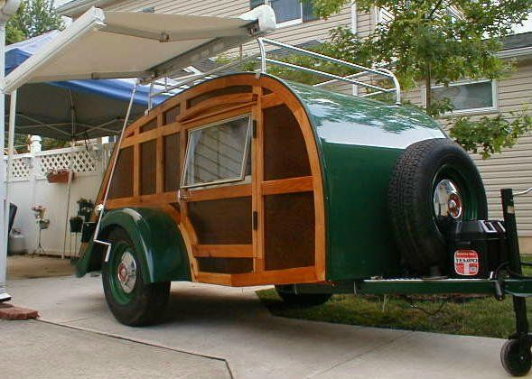 Green Woody Teardrop Trailer Camper Caravane Teardrop