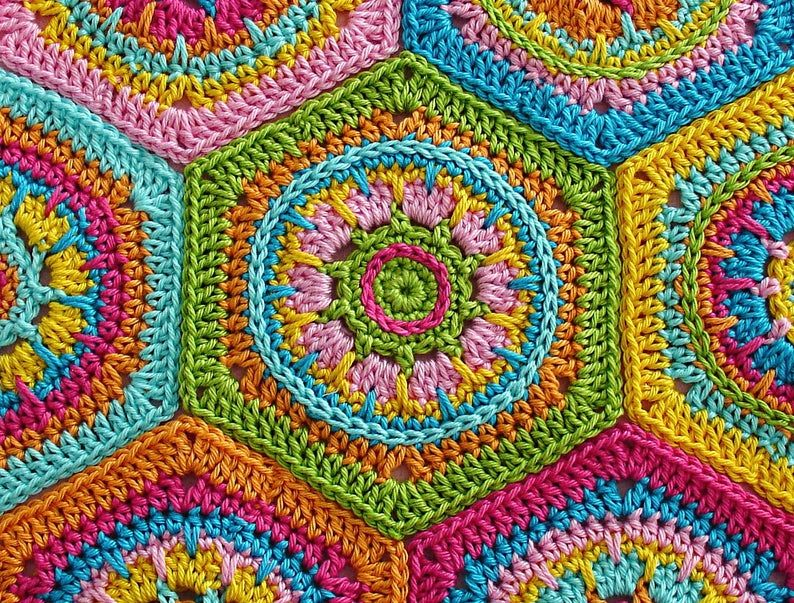 Crochet Tutorial - Granny Square - Hexagon CRYSTAL - PDF - Crochet Pattern - English (US terms) - Instant Download