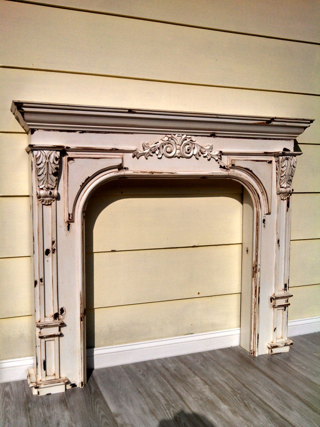 vintage french country farmhouse fireplace by
