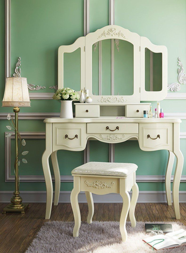 Dressing Table Set Makeup Desk with Stool & Mirror Bedroom ...