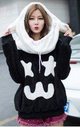 $12.52 Cartoon Print Pockets Fluffy Polar Fleece Color Matching Ears Hoodie For Women
