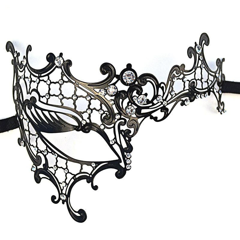Black VENETIAN Lace Metal MASKMasquerade Half-face Clear Diamante Fancy Dress