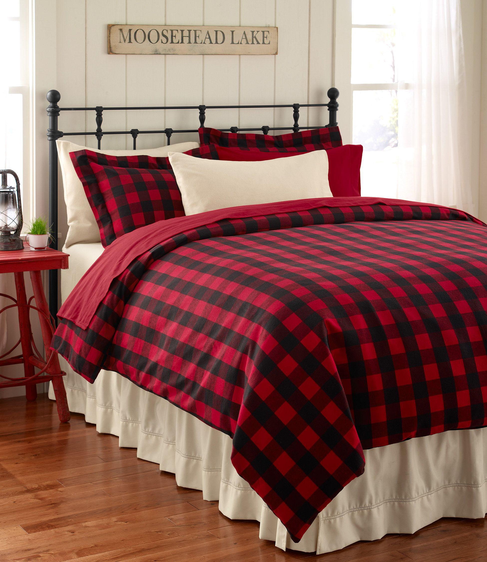 Ultrasoft Flannel Comforter Cover Buffalo Plaid Bedding Free Shipping At L L Bean Bedroom Red Home Rustic Bedroom