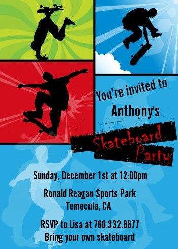 skateboard - birthday party invitations | skateboard, party, Party invitations