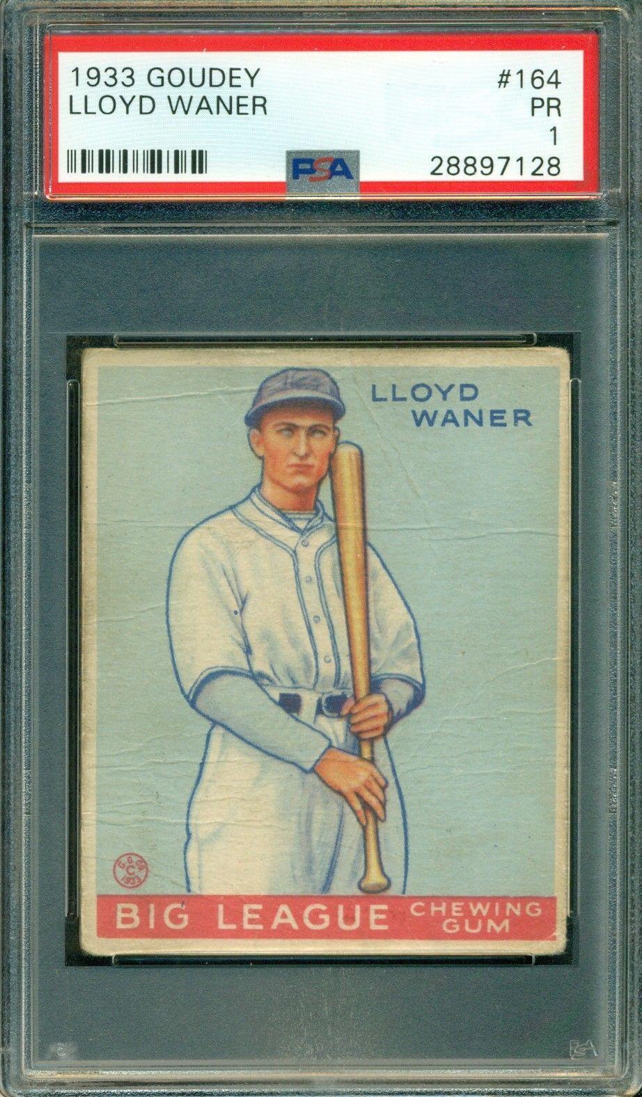 Lloyd Waner 1933 Goudey 164 Psa 1 Hall Of Fame New