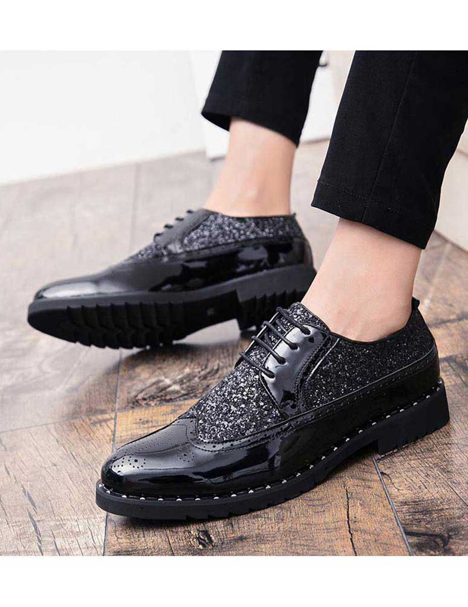 Black Patent Leather Studded Derby Brogue Dress Shoe Dress Shoes Dress Shoes Men Leather Brogues [ 1200 x 926 Pixel ]