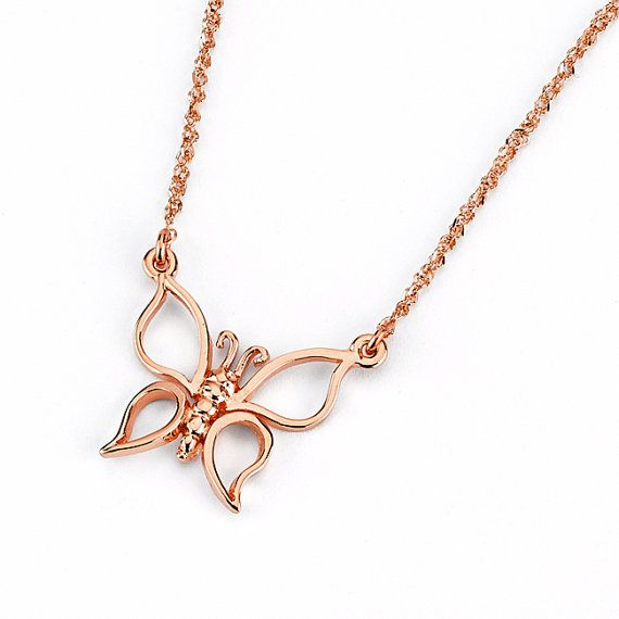 Beautiful Open Wing Butterfly Necklace made in Solid 14k Gold. Great for everyday Jewelry. Standard Size 17. Measures 3/4 x 3/4.