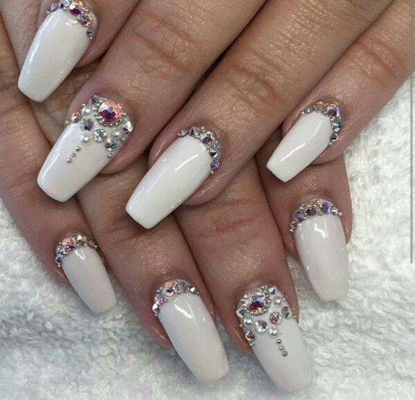 Pin by martichka on nails pinterest nail gems white nails bling nails bling bling nail ideas nail designs beauty nails nail art beads stones prinsesfo Choice Image