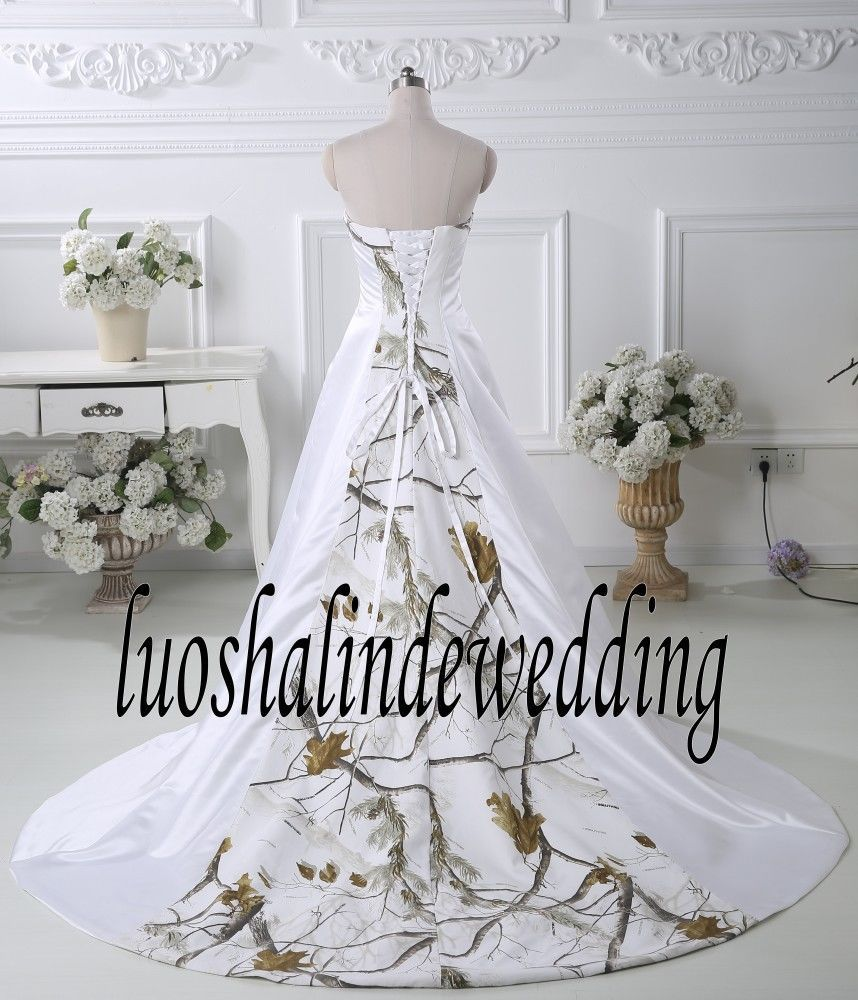 White With Camo Wedding Dress Birdal Gown Camouflage Wedding Gown