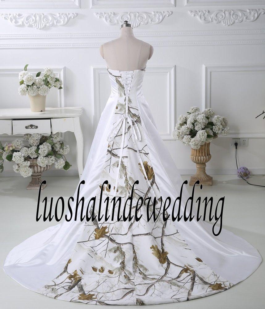 White With Camo Wedding Dress Birdal Gown Camouflage Wedding Gown Plus Size White Camo Wedding Dress Camo Wedding Camo Wedding Dresses
