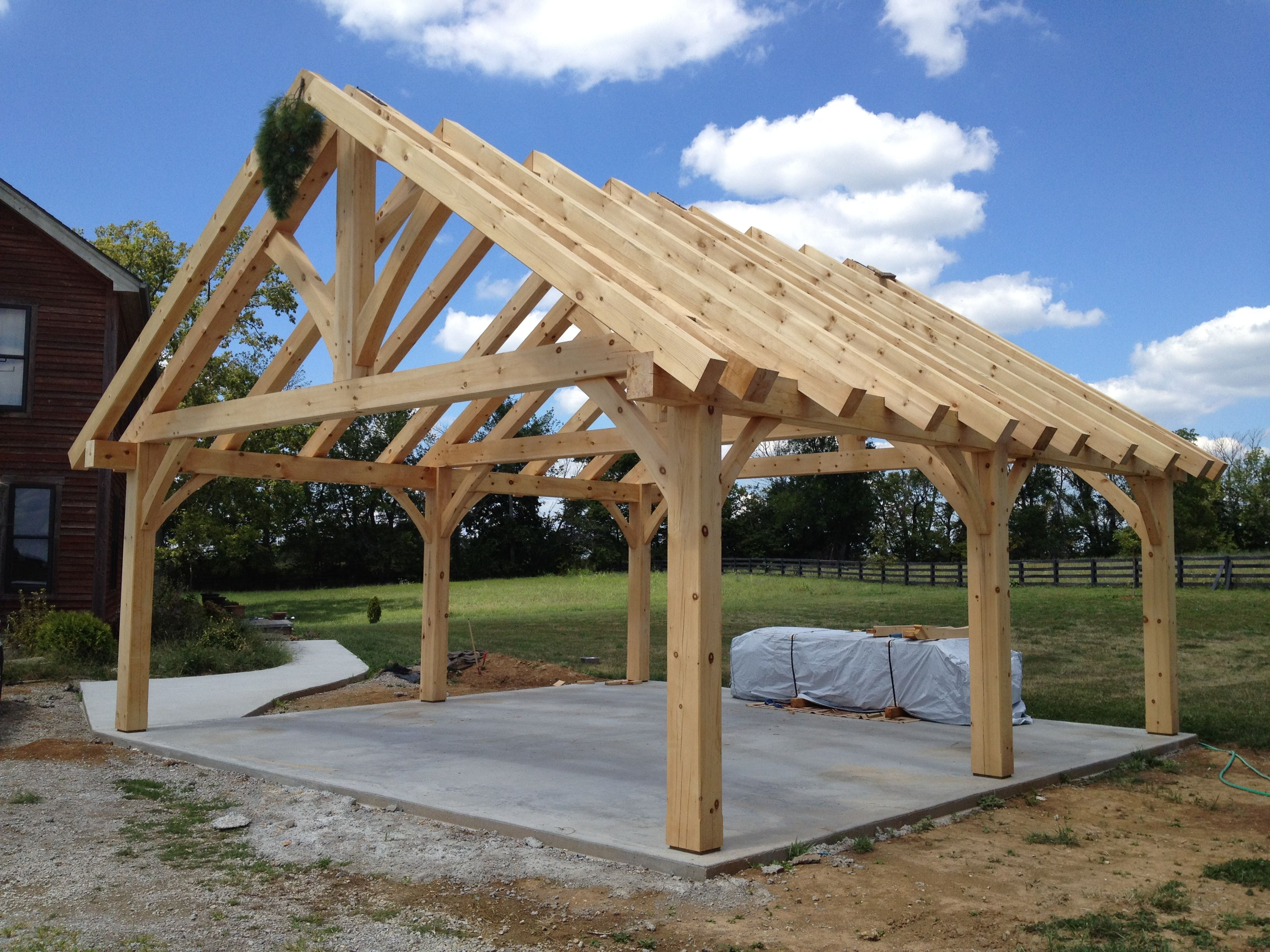 kingpost trusses timberframe Backyard pavilion