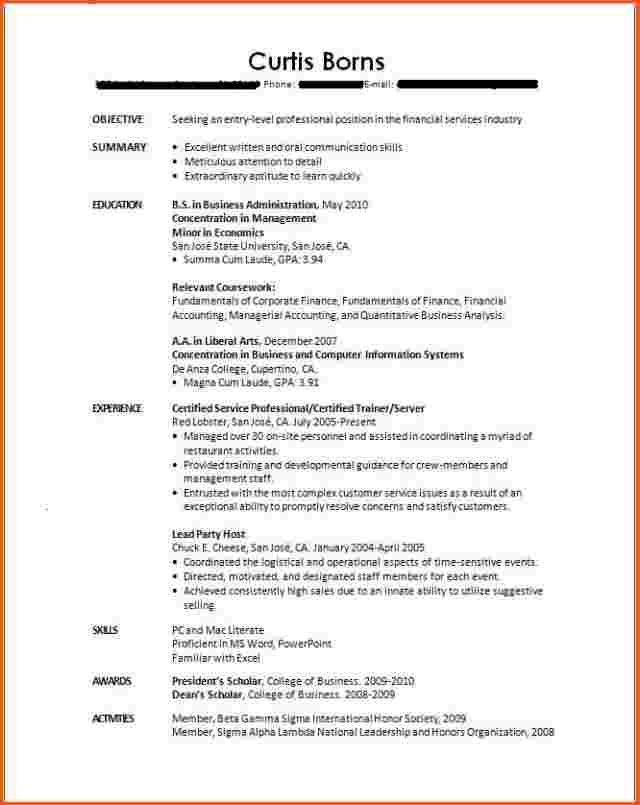 sample resume for no work experience college graduate