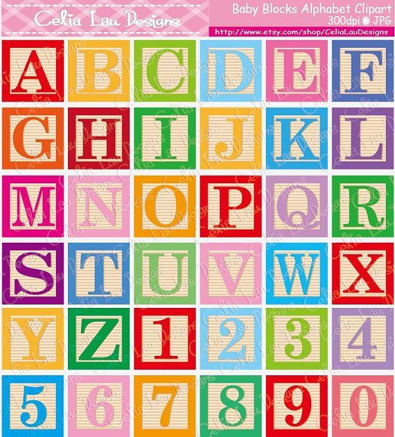 Baby Blocks Alphabet Font Digital Clip Art Cute Alphabet And
