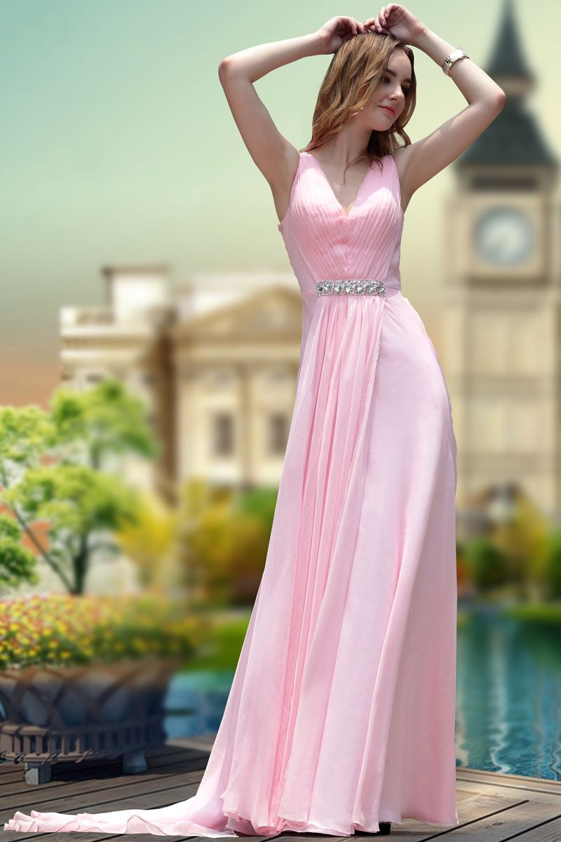 Fashion Sweet Pink V-neck Court Train Banquest Cocktail Long Evening ...