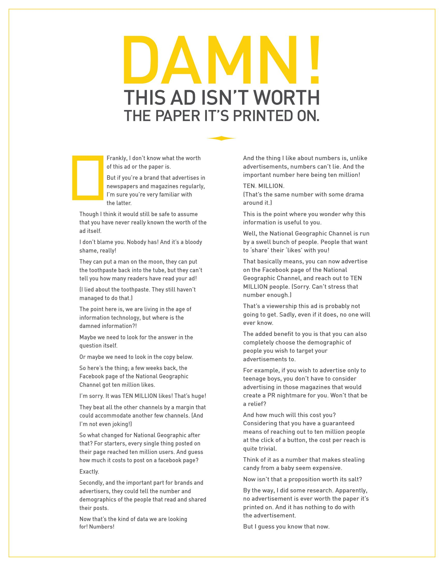 Nationalgeographicadjpg Long Copy Ads - Know adverts lie just much will shock