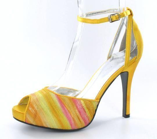 Yellow dressy open toe heel