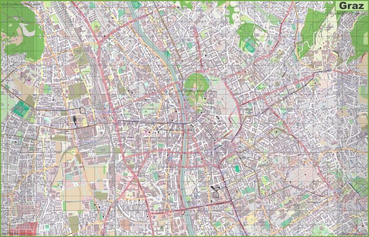 Large detailed map of Graz Maps Pinterest Graz Austria and City