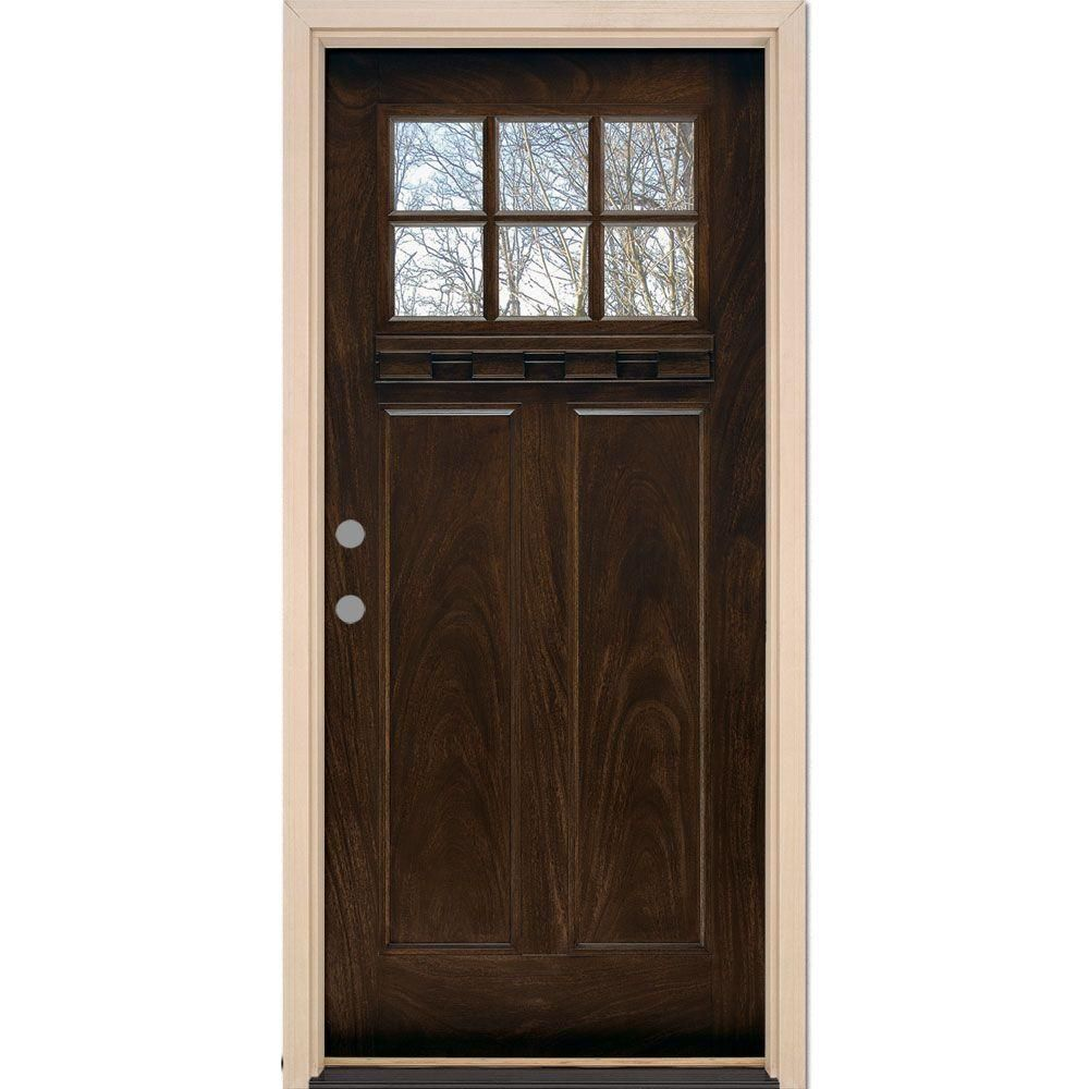 Feather River Doors 37 5 In X 81 625 In 6 Lite Craftsman Stained Chestnut Mahogany Right Hand Inswing Fiberglass Prehung Front Door Ff3791 The Home Depot Fiberglass Exterior Doors Fiberglass Entry Doors Craftsman Exterior Door