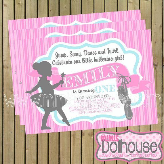 Ballerina Invitation Printable Ballet Birthday by MimisDollhouse - invitation formats