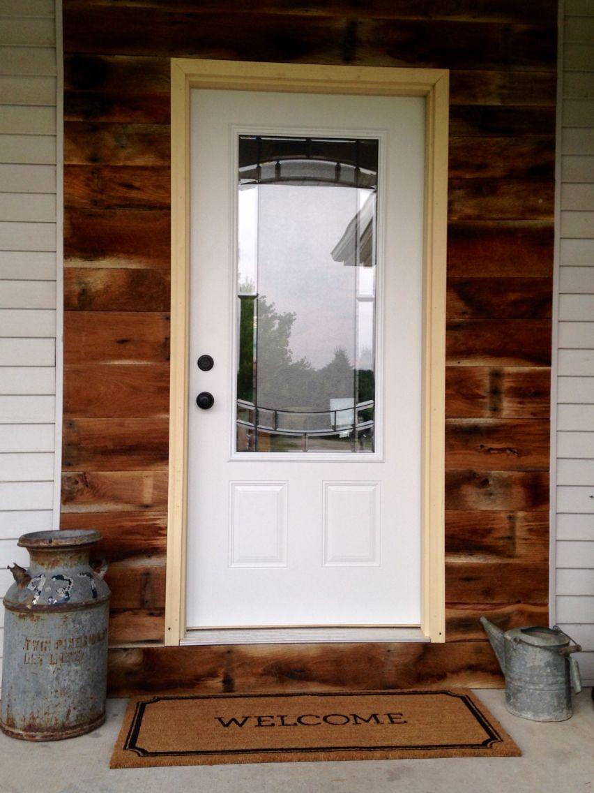 Barn Wood Accent Wall Around Front Door