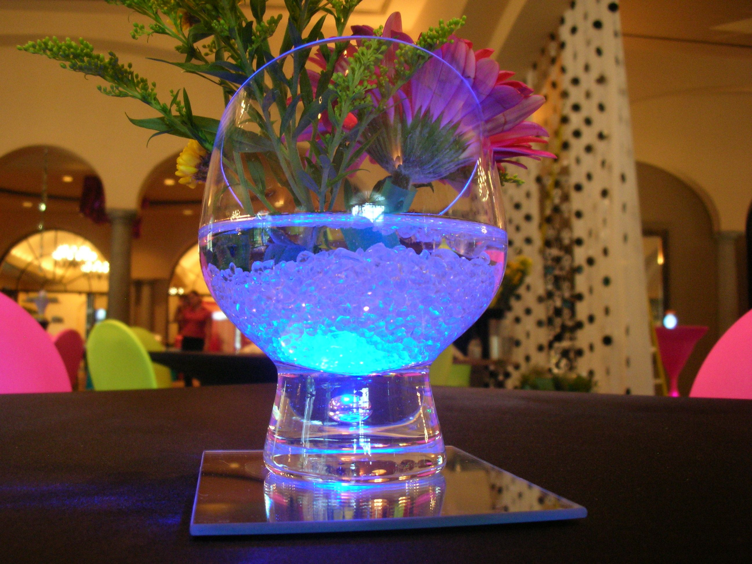 creative gel centerpiece with blue accents for cocktail tables for a sweet 16 or quinceanera in