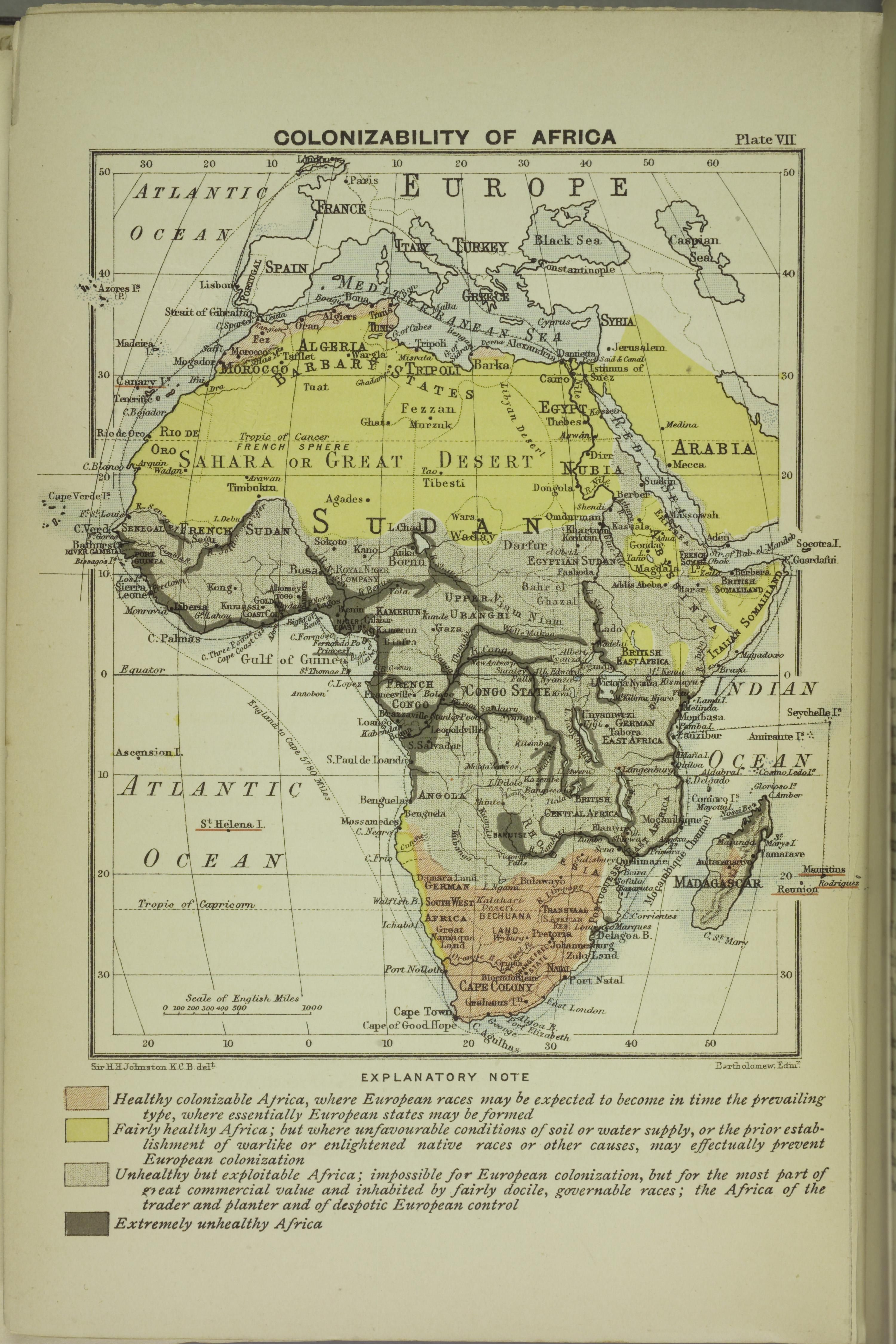 19th Century Africa Map.Colonizability Of Africa By J G Bartholomew 1899 Mapmania