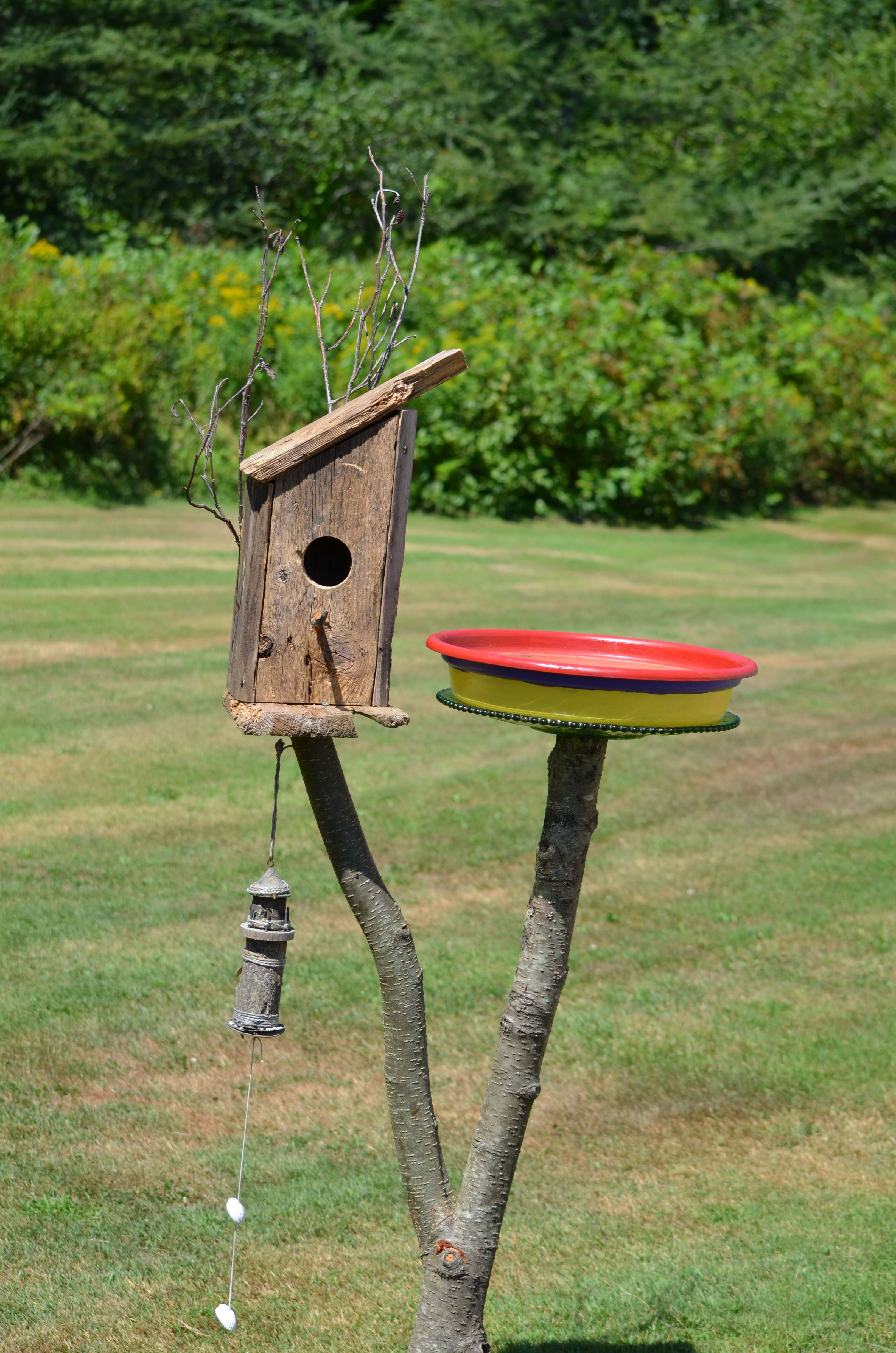 Birdhouse constructed of wood bird house design free standing bird - Bird Out House Made From Old Wood Pallets A Bird Bath
