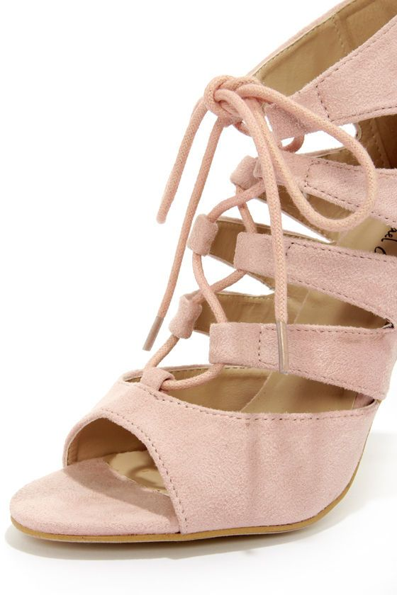 0a9da5d50d5cb9 Michael Antonio Jacqueline Blush Lace-Up Peep Toe Heels at LuLus.com ...