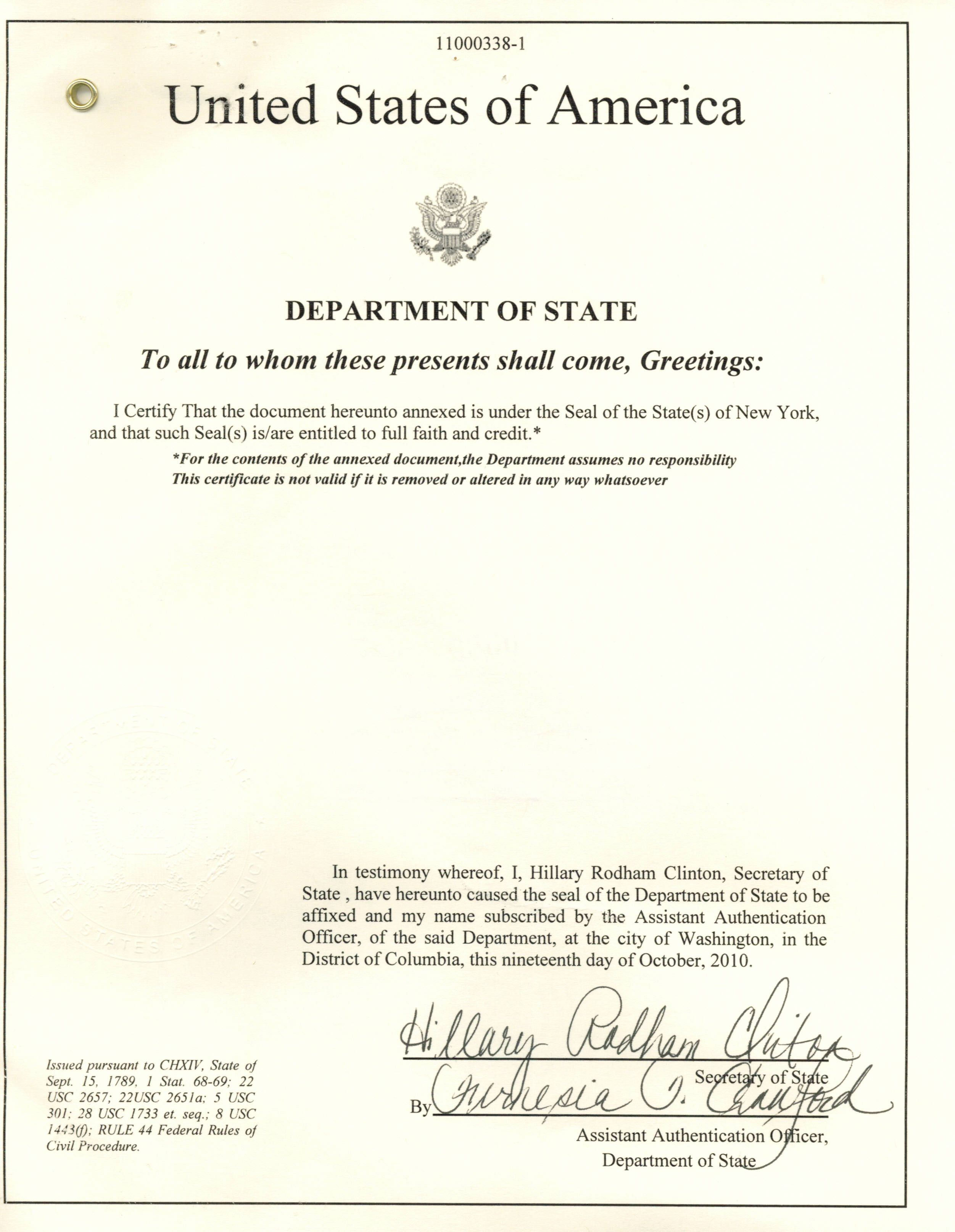 Us Department Of State Authentication Of A New York State Apostille