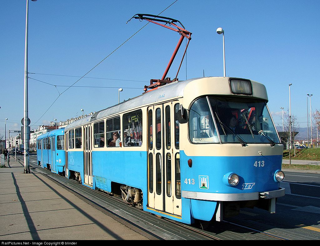 413 Zet Zagrebacki Elektricni Tramvaj Tmk T4 401 At Zagreb Croatia By Blinder Public Transport Light Rail Croatia