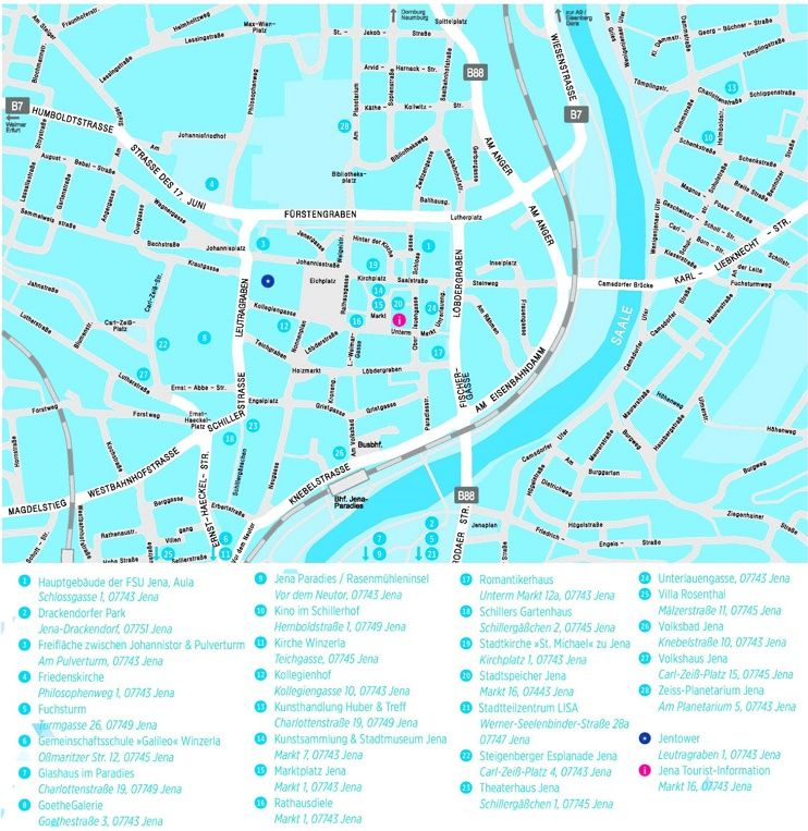 Jena sightseeing map Maps Pinterest Jena