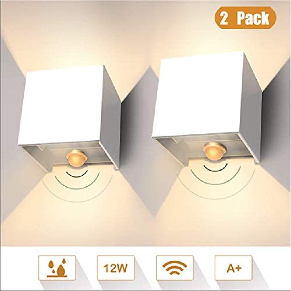 Led Wandleuchte 12w Ip65 Mit Bewegungsmelder 2er Pack Modern High Bright Warmweiss Wandlampe Mit Einstellbar Abstra Wandleuchte Wandbeleuchtung Innenbeleuchtung