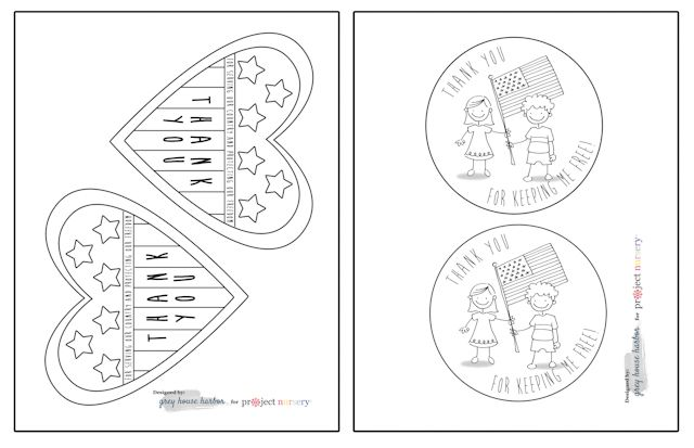 Veterans Day Cards for Kids to Color – Free Veterans Day Worksheets
