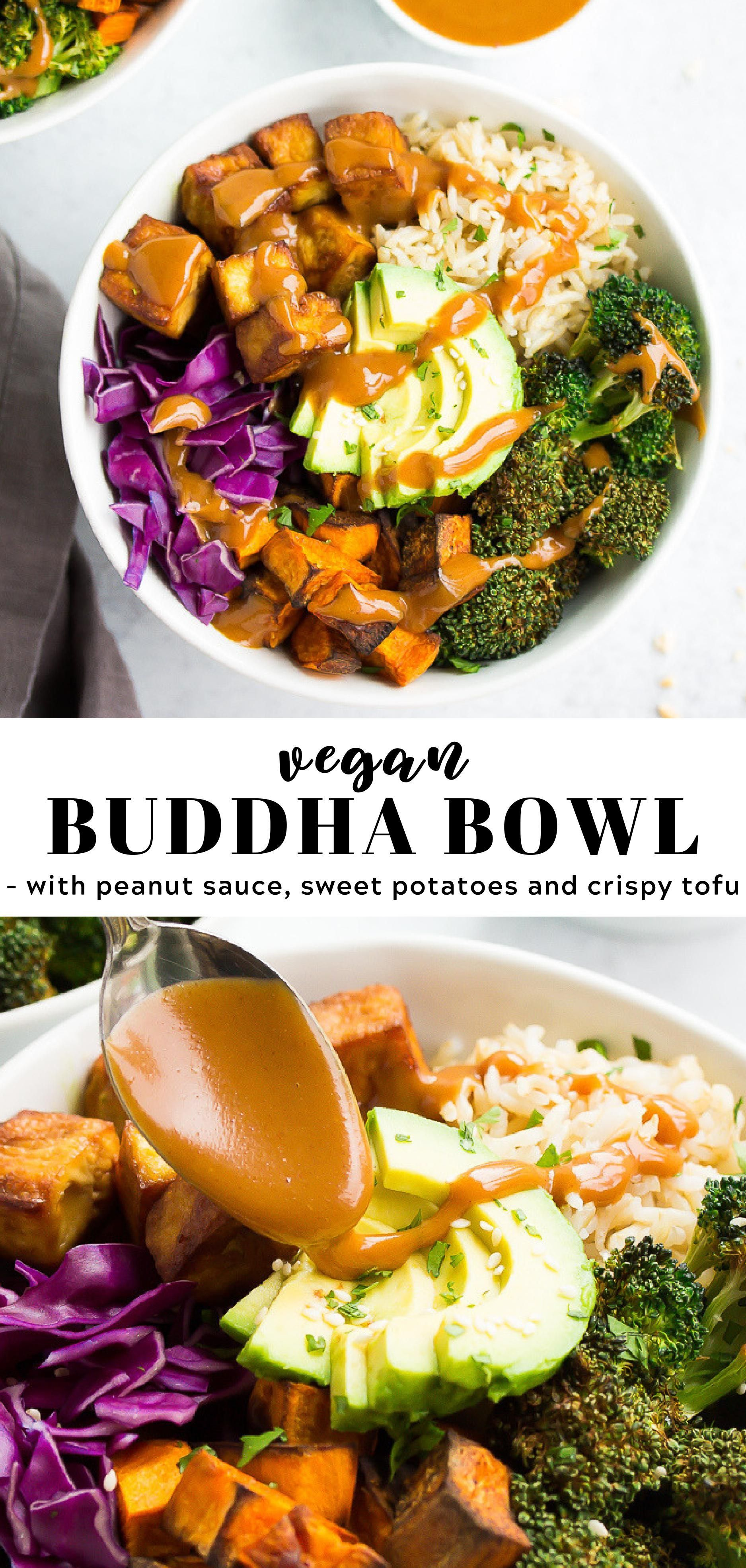 Vegan Buddha Bowl with roasted broccoli, crispy tofu, sweet potatoes and the best peanut sauce!