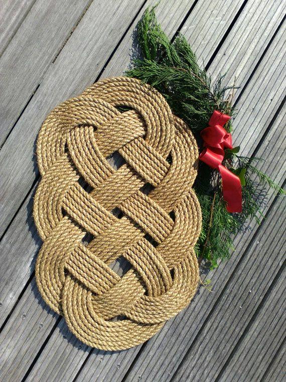 Nautical Rope Door Mat, Natural Manila Rope Seven Seas Knot Mat, Neutral  Colour, New England, Coastal Beach Style Decor X 13 Inches)