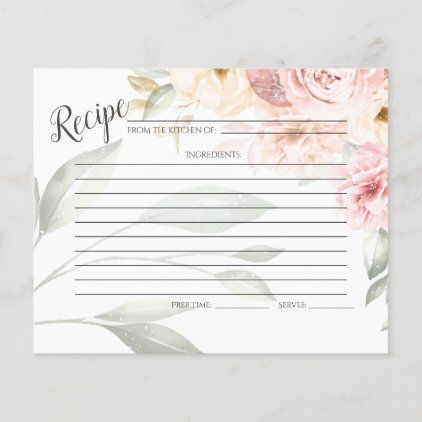 RECIPE CARD | Pastel Pink Coral Peonies