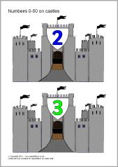 Numbers 0-50 on castles (SB4205) - SparkleBox