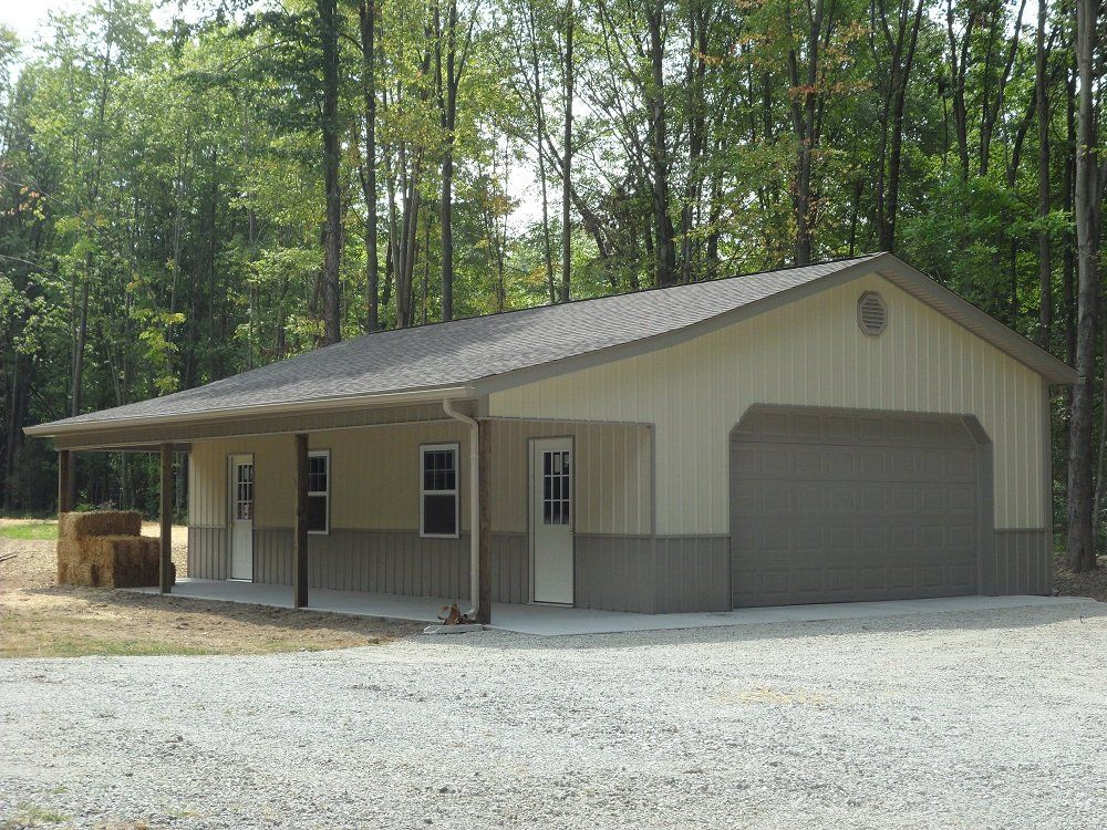 Pole barn garage with porch jpg like it barn garages for Pole barn home plans with garage