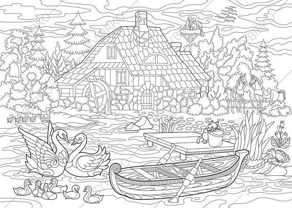 2 Coloring Pages Of Rural Landscape From ColoringPageExpress Shop Hand Drawn Illustrations Both For Adults And Kids Designed By Oleksandr Sybirko