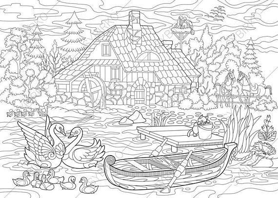 Adult Coloring Pages Rural Landscape Zentangle Doodle