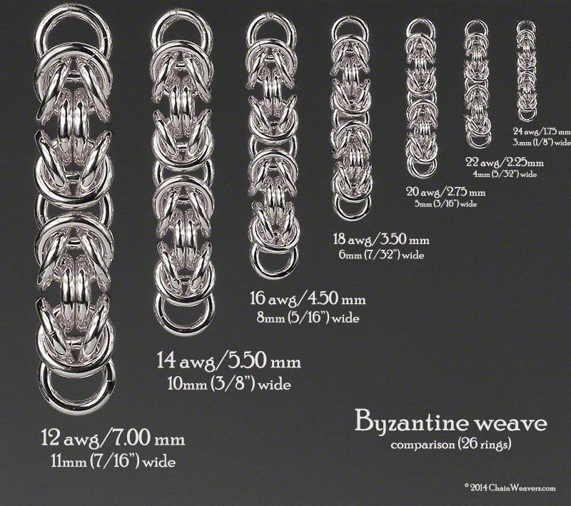 Byzantine Weave Showing Ring Size Comparisons Based On 26 Rings Wire Jewelry Patterns Chains Jewelry Chain Maille Jewelry