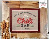 Chili Bar Sign // INSTANT DOWNLOAD // Buffalo Plaid Lumberjack Birthday // Red & Black Plaid // Printable, Digital File / bp06 bs05 bp08 #hotchocolatebar