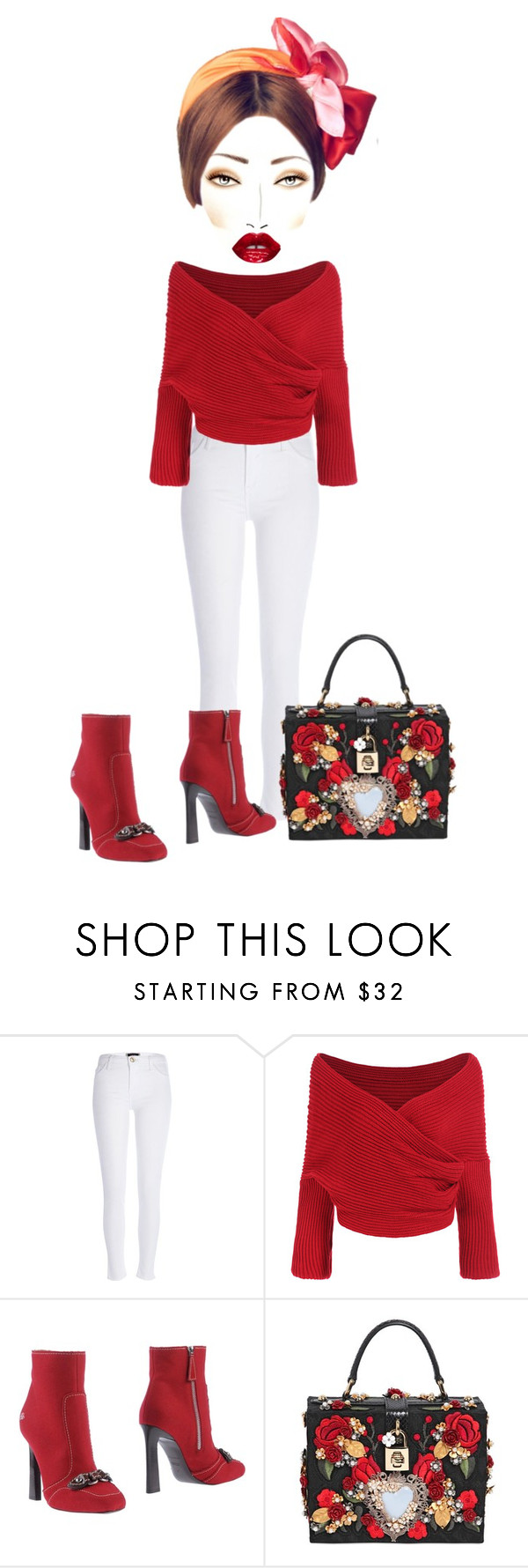 """""""Untitled #4158"""" by cristalabron ❤ liked on Polyvore featuring River Island, Dsquared2 and Dolce&Gabbana"""